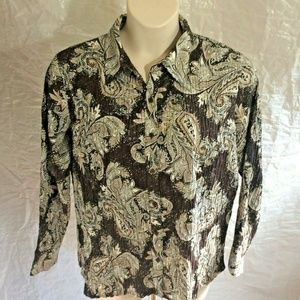 EAST 5TH XL Blouse Brown Paisley Accordion Pleat